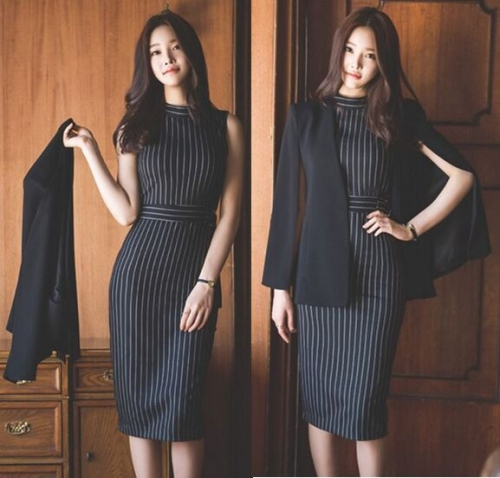 2518858#Cloak+Stripe Dress2pcs suit