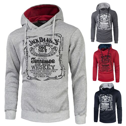 UNM~Men's Long-sleeved hooded letters printing Blouse