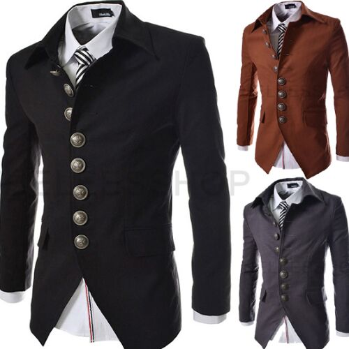 UNM~Men's single row multi-grain lapel retro small suit Coat