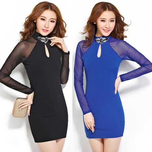 UNM~Women's Neckline accessories back hollow long sleeve slim hip Dress