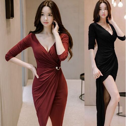 UNM~Women's long-sleeved sexy Slim package hip split Dress