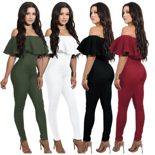 UNM~Women's Ruffle strapless Slim Jumpsuit