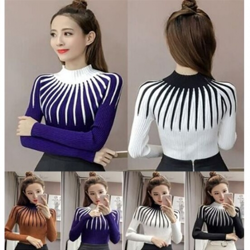 UNM~Women's Half-neck striped knit shirting Sweater