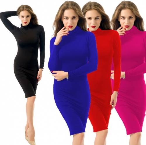 UNM~Women's Women's long-sleeved sexy solid color Dress