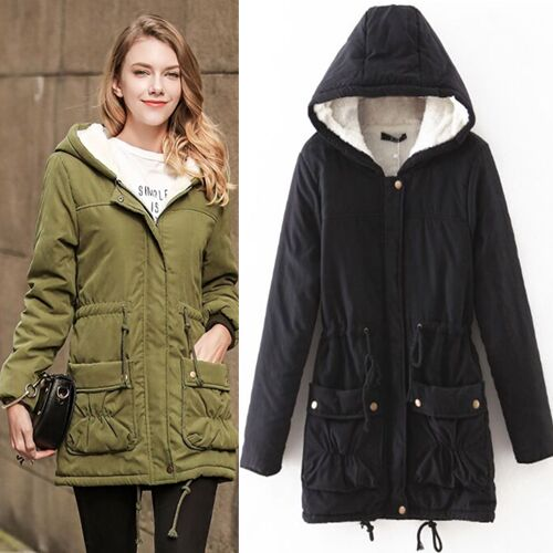UNM~Women's Lamb's wool hooded cotton long sections Coat