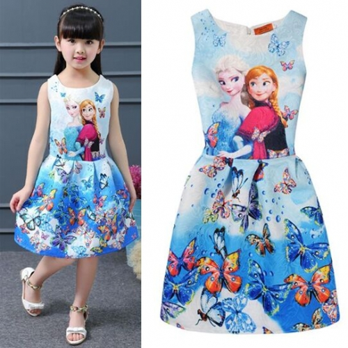 UNM~Children's Printed sleeveless Puff vest Dress
