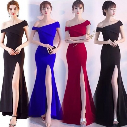 UNM~Women's Fish A word shoulder fishtail fork long evening Dress