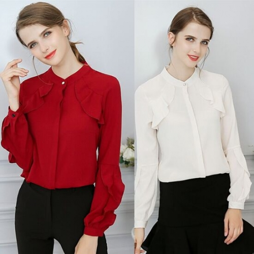 UNM~Women's Round collar horn sleeve single-breasted chiffon shirt