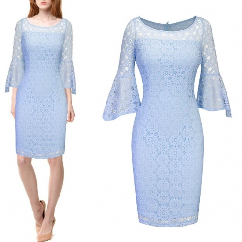 UNM~Women's ound neck bag hip trumpet sleeve lace Dress