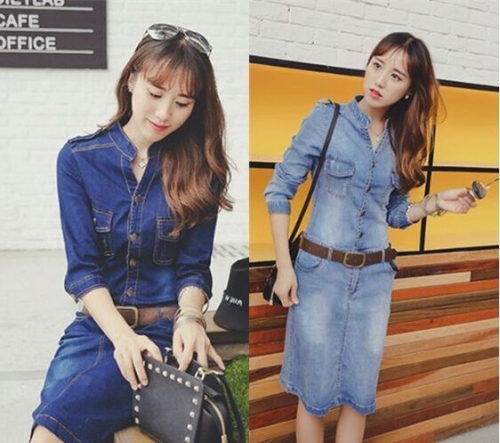 UNM~Women's V collar shoulder stretch denim Dress