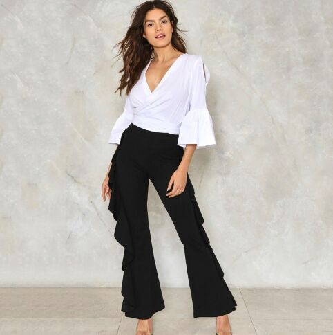 UNM~Women's Side flounced flared flared trousers