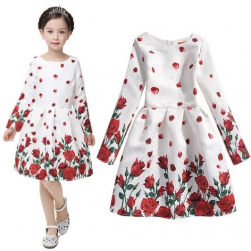 UNM~Children's  Jacquard butterfly long-sleeved  Dress