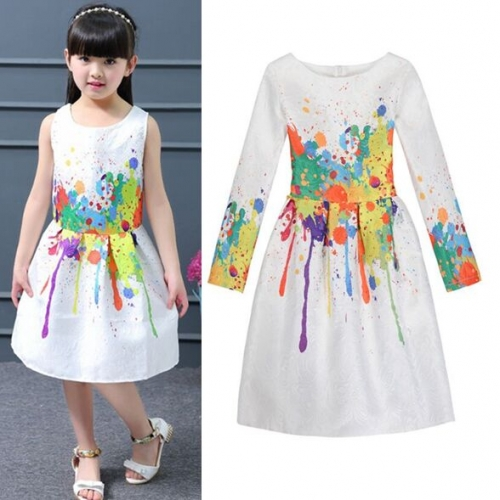 UNM~Children's  jacquard ink printing  Dress