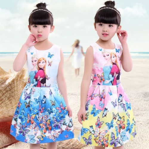 UNM~Children's Printed sleeveless Puff Double girl vest Dress