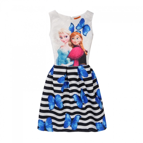 UNM~Children's Printed sleeveless Puff individual girl vest Dress