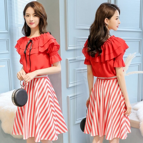 46L518#Top+ Skirt Set