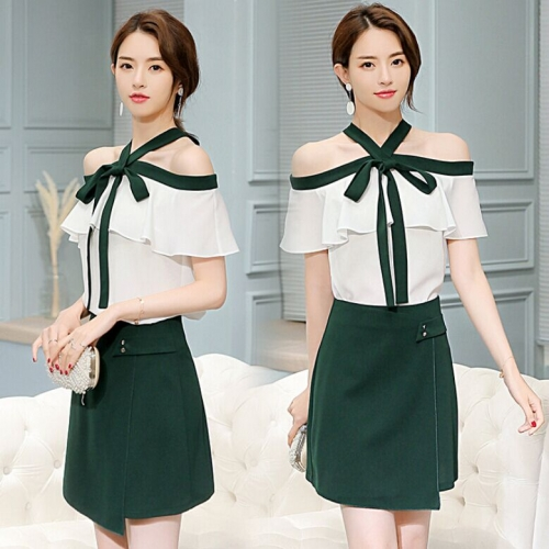 46L519#Top+ Skirt Set