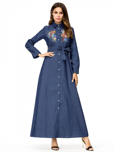 287293#Muslim Denim Dress