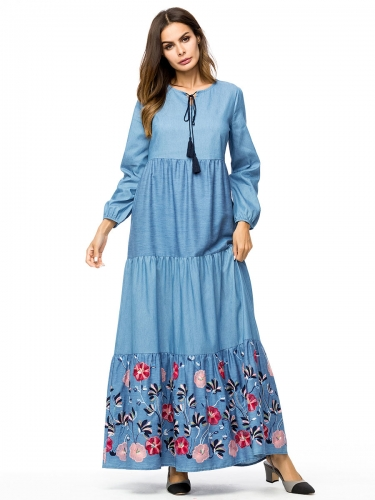 287211#Muslim Denim Dress