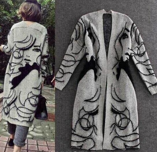 18502#Sweater Coat