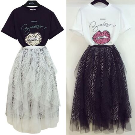 153261#T Shirt+Skirt  2pcs Suit
