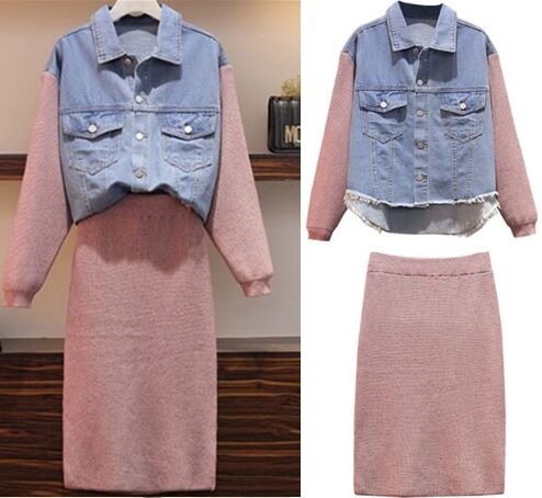 152216#Denim Jacket + Knit Skirt Suit