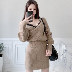 153087#Sweater Bloue+Skirt 2pcs suit