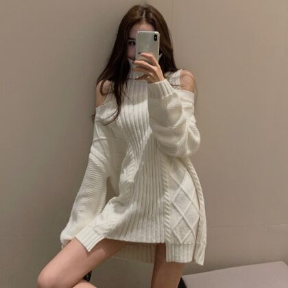 157049#knitted sweater Dress