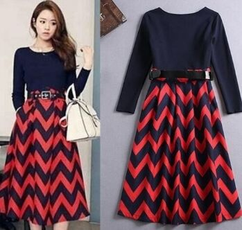 181255#Dress(With Belt)-Navy